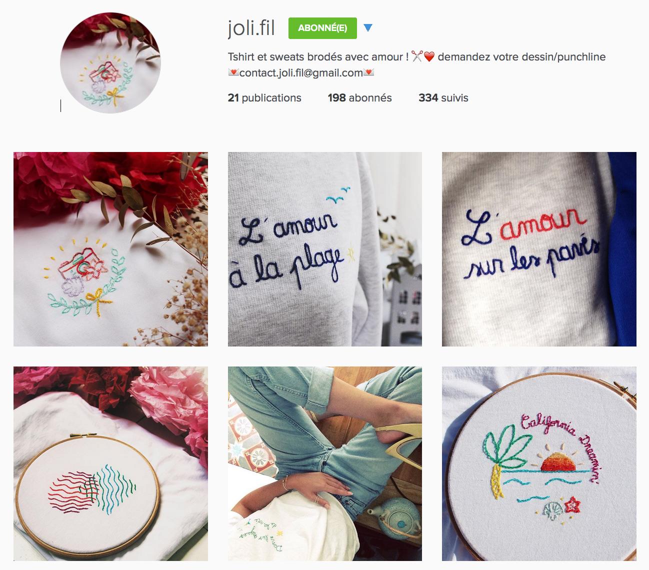 Compte instagram Joli.fil
