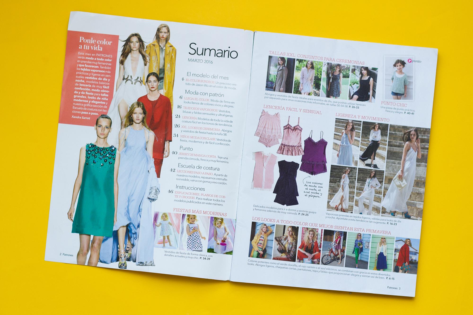 Sommaire magazine de patron de couture Patrones