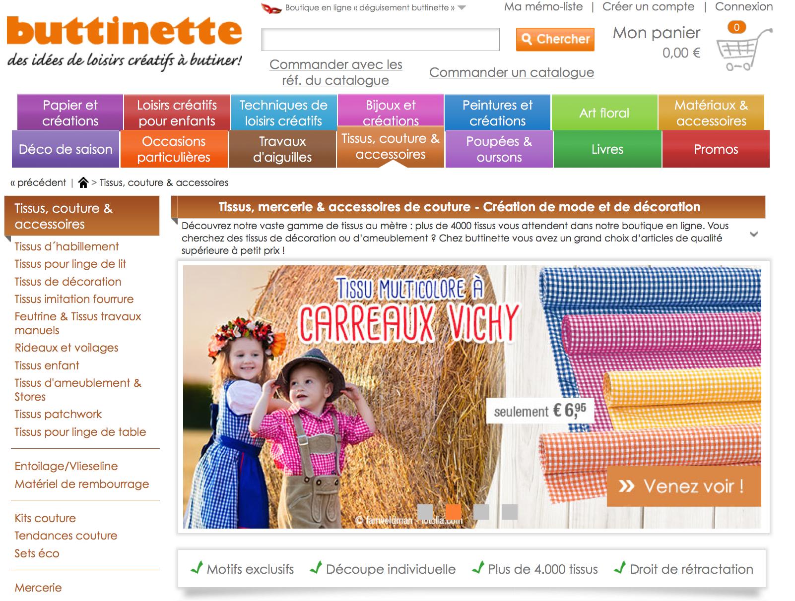 Buttinette un site pour acheter du tissu en ligne