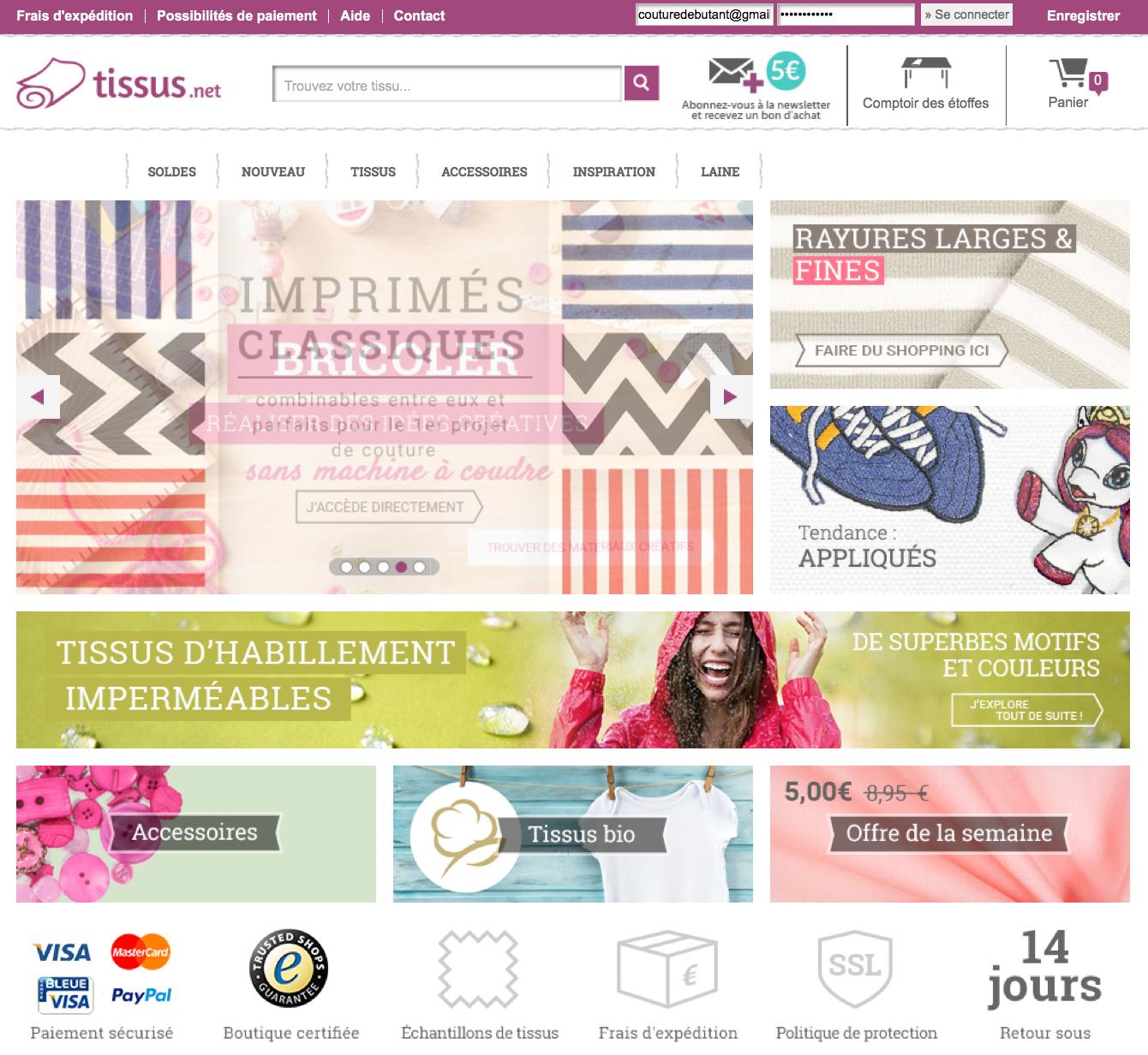Tissus.net un site pour acheter du tissu en ligne