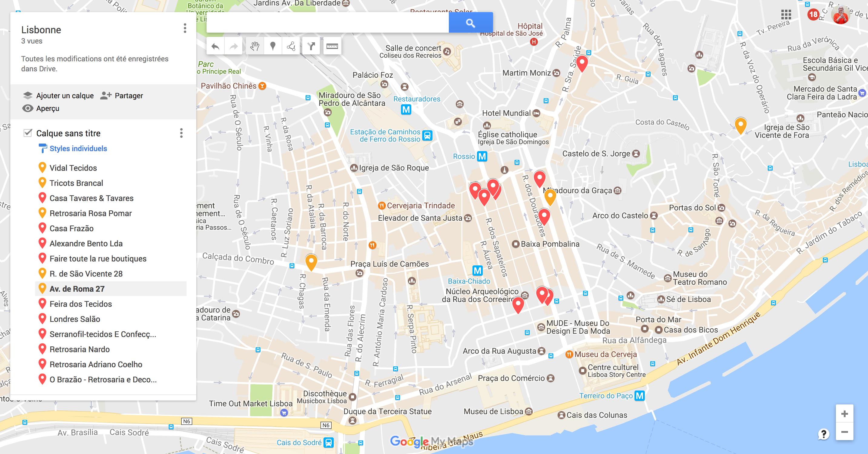 carte maps avec les boutiques de tissu et mercerie lisbonne