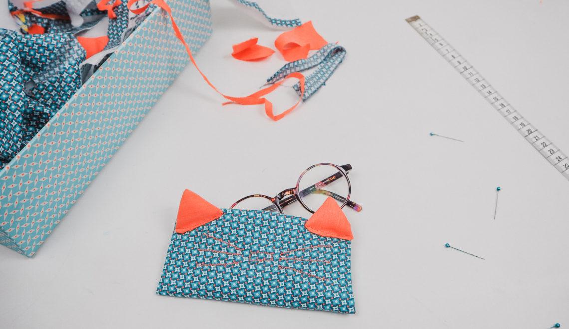 Tuto couture coudre un etui à lunettes chat