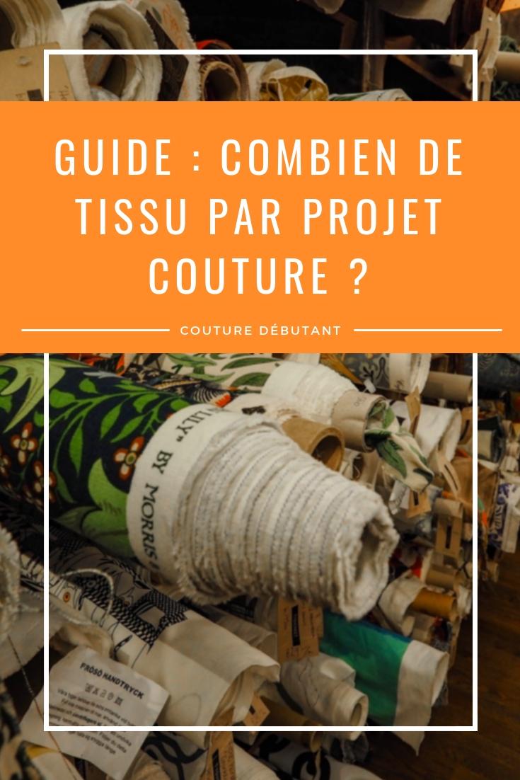Guide couture : connaitre la quantité de tissu par projet couture